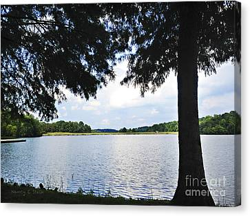 Higgins Lake In The Summer Canvas Print by Nancy E Stein