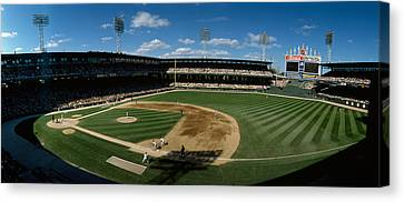 High Angle View Of A Baseball Match Canvas Print by Panoramic Images