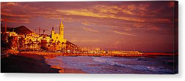 High Angle View Of A Beach, Sitges Canvas Print by Panoramic Images