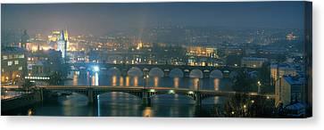 High Angle View Of A Bridge At Dusk Canvas Print
