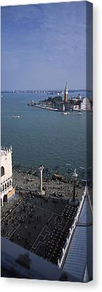 High Angle View Of A Church And A Bell Canvas Print by Panoramic Images