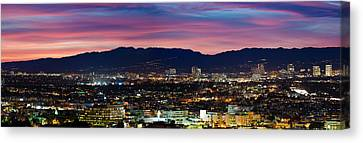High Angle View Of A City At Dusk Canvas Print