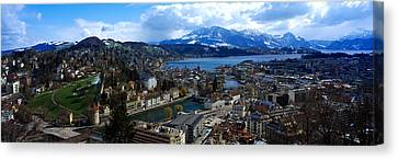 High Angle View Of A City, Chateau Canvas Print