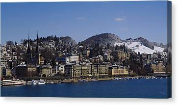 High Angle View Of A City, Lucerne Canvas Print