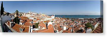High Angle View Of A City, Sao Vicente Canvas Print by Panoramic Images