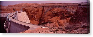 High Angle View Of A Dam, Glen Canyon Canvas Print by Panoramic Images