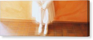 High Angle View Of A Girl Standing In Canvas Print