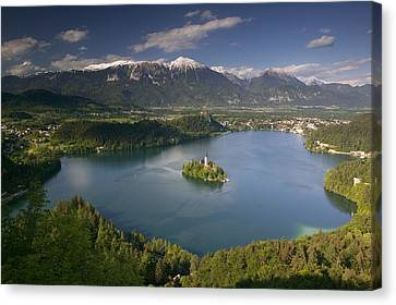 High Angle View Of A Lake, Lake Bled Canvas Print by Panoramic Images