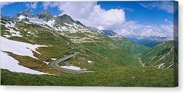 High Angle View Of A Road Passing Canvas Print by Panoramic Images