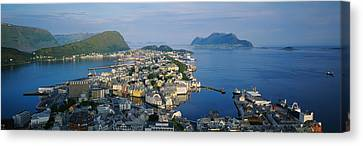 High Angle View Of A Town, Alesund Canvas Print by Panoramic Images