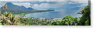 High Angle View Of A Town On The Coast Canvas Print by Panoramic Images