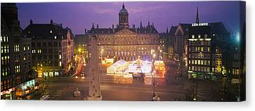 High Angle View Of A Town Square Lit Canvas Print by Panoramic Images