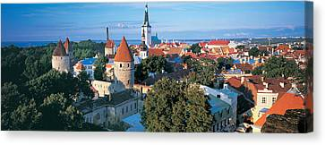 High Angle View Of A Town, Tallinn Canvas Print by Panoramic Images