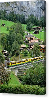 Wengen Canvas Print - High Angle View Of A Train From Wengen by Panoramic Images