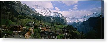 Wengen Canvas Print - High Angle View Of A Village by Panoramic Images
