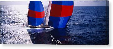 High Angle View Of A Yacht In The Sea Canvas Print