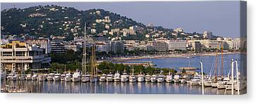 High Angle View Of Boats Docked At Canvas Print by Panoramic Images