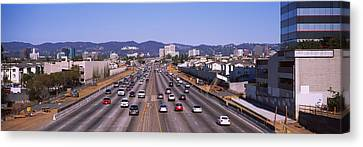 High Angle View Of Cars On The Road Canvas Print