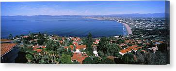 High Angle View Of City, Morro Bay, San Canvas Print