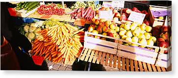High Angle View Of Fruits Canvas Print