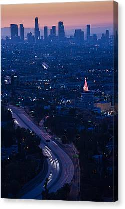 High Angle View Of Highway 101 At Dawn Canvas Print