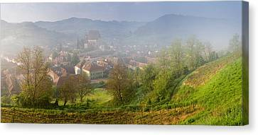 High Angle View Of Houses In A Village Canvas Print by Panoramic Images