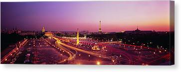 High Angle View Of Paris At Dusk Canvas Print by Panoramic Images