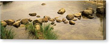 High Angle View Of Stepping Stones Canvas Print by Panoramic Images