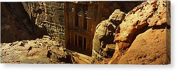 High Angle View Of The Treasury, Wadi Canvas Print by Panoramic Images