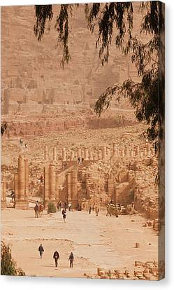 Petra Canvas Print - High Angle View Of Tourists At Ancient by Panoramic Images