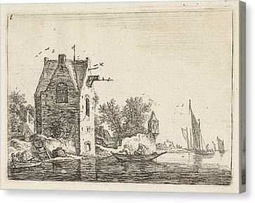 High Building On The Waterfront, Anthonie Waterloo Canvas Print by Anthonie Waterloo
