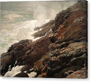 High Cliff Coast Of Maine 1894 Canvas Print by Philip Ralley