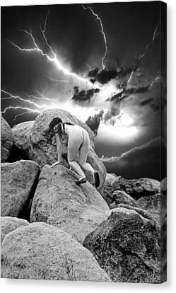 High Desert Dry Lightning Canvas Print by Ken Evans