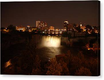 High Falls At Night White Canvas Print by Aimee L Maher Photography and Art Visit ALMGallerydotcom