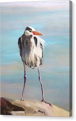 High Falls Heron Canvas Print by Debbie Anderson