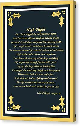 High Flight Canvas Print by Cecil Fuselier