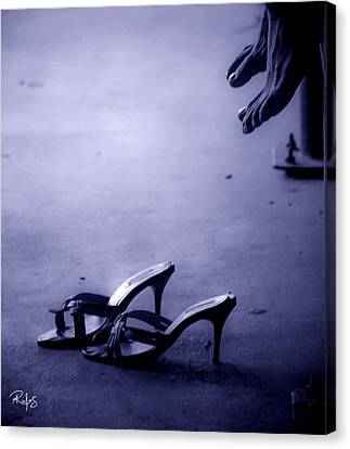 High Heel Shoes Waiting In The Moonlight Canvas Print by Allan Rufus