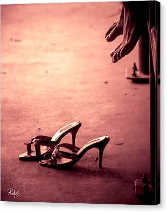 High Heel Shoes Waiting On The Pavement Canvas Print by Allan Rufus