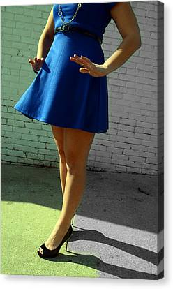 High Heels And A Blue Skirt Canvas Print