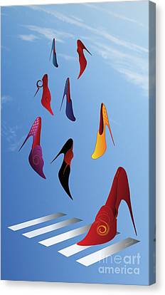 High Heels Rain M1 Canvas Print by Johannes Murat