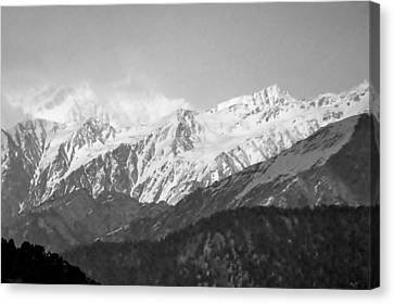 High Himalayas - Black And White Canvas Print by Kim Bemis