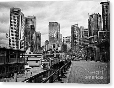 high rise apartment condo blocks in the west end coal harbour marina Vancouver BC Canada Canvas Print by Joe Fox