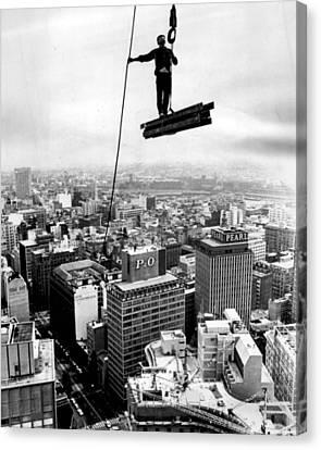 High Rise Construction Vintage Daredevil Canvas Print by Retro Images Archive