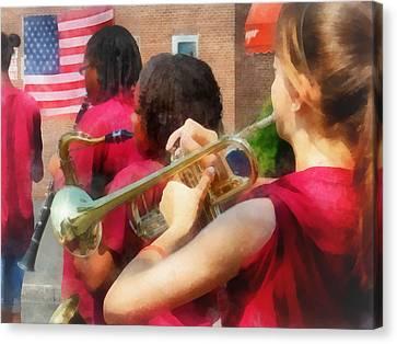 High School Band At Parade Canvas Print by Susan Savad