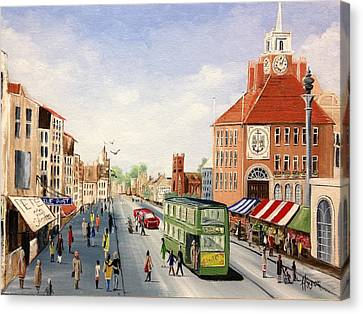 Canvas Print featuring the painting High Street by Helen Syron