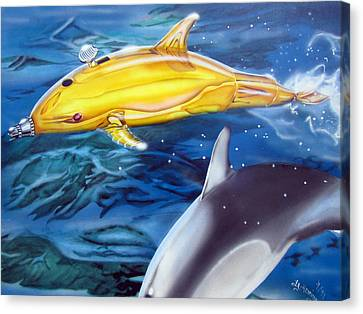 Canvas Print featuring the painting High Tech Dolphins by Thomas J Herring