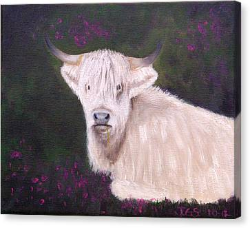 Canvas Print featuring the painting Highland Cow In The Heather by Janet Greer Sammons