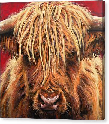 Cow Canvas Print - Highland Cow by Leigh Banks