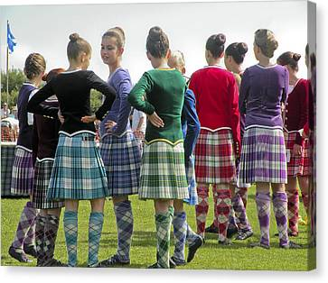 Canvas Print featuring the photograph Highland Dancers Scotland by Sally Ross