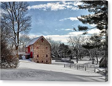Highland Farms In The Snow Canvas Print by Bill Cannon